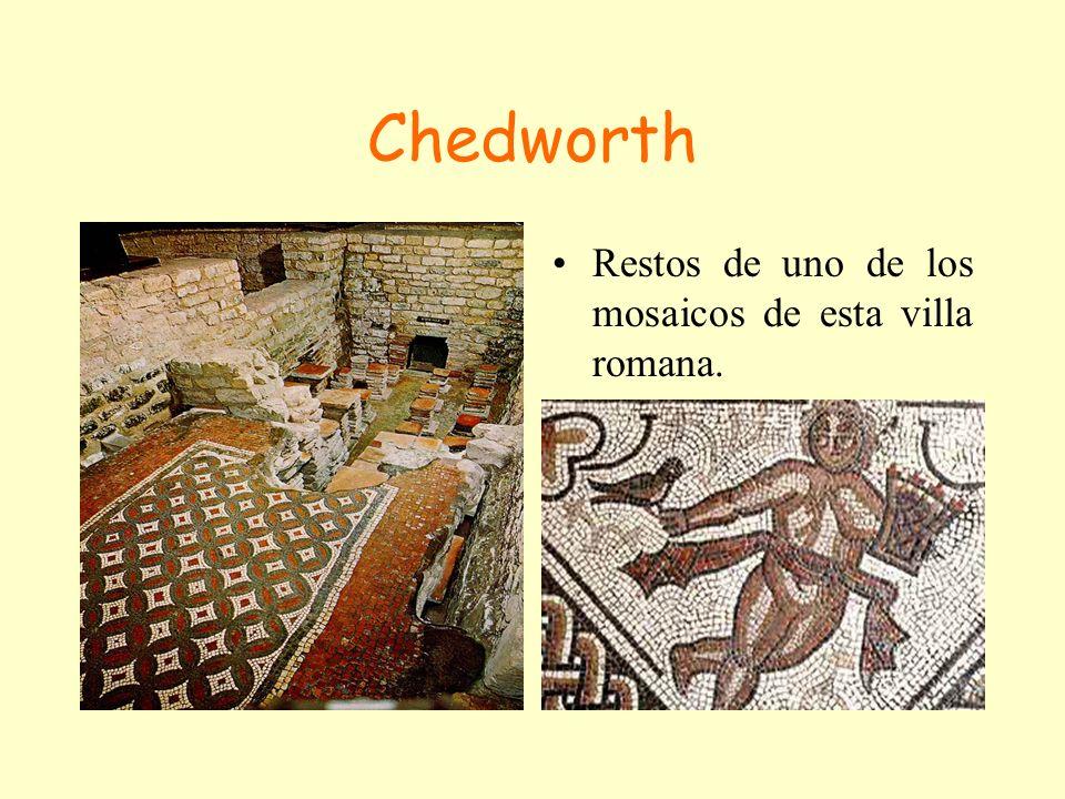 Chedworth Restos de uno de los mosaicos de esta villa romana.