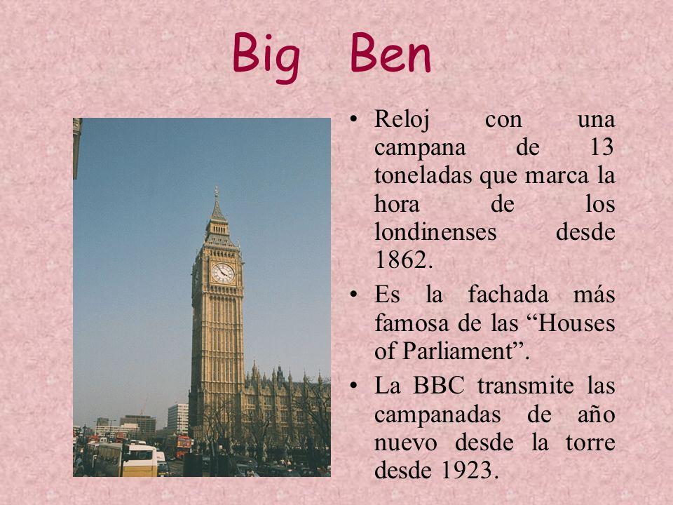 Big Ben Reloj con una campana de 13 toneladas que marca la hora de los londinenses desde 1862. Es la fachada más famosa de las Houses of Parliament. L