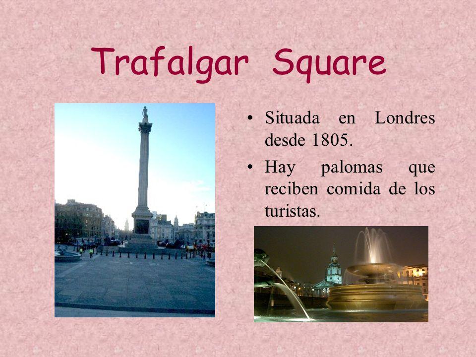 Trafalgar Square Situada en Londres desde 1805. Hay palomas que reciben comida de los turistas.