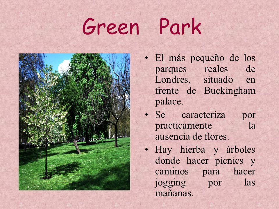Green Park El más pequeño de los parques reales de Londres, situado en frente de Buckingham palace. Se caracteriza por practicamente la ausencia de fl