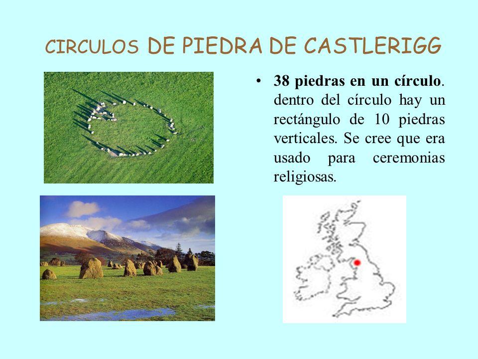 CIRCULOS DE PIEDRA DE CASTLERIGG 38 piedras en un círculo. dentro del círculo hay un rectángulo de 10 piedras verticales. Se cree que era usado para c