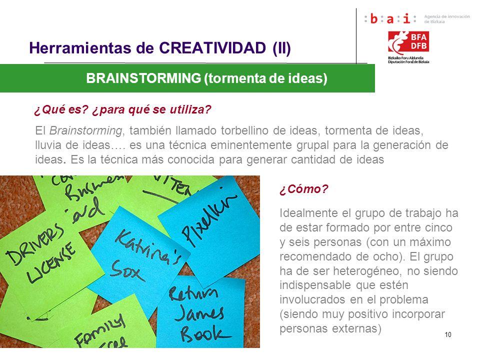 10 Herramientas de CREATIVIDAD (II) BRAINSTORMING (tormenta de ideas) ¿Qué es? ¿para qué se utiliza? El Brainstorming, también llamado torbellino de i