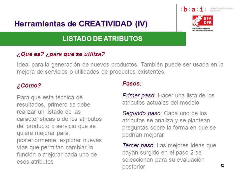 12 Herramientas de CREATIVIDAD (IV) LISTADO DE ATRIBUTOS ¿Qué es? ¿para qué se utiliza? Ideal para la generación de nuevos productos. También puede se