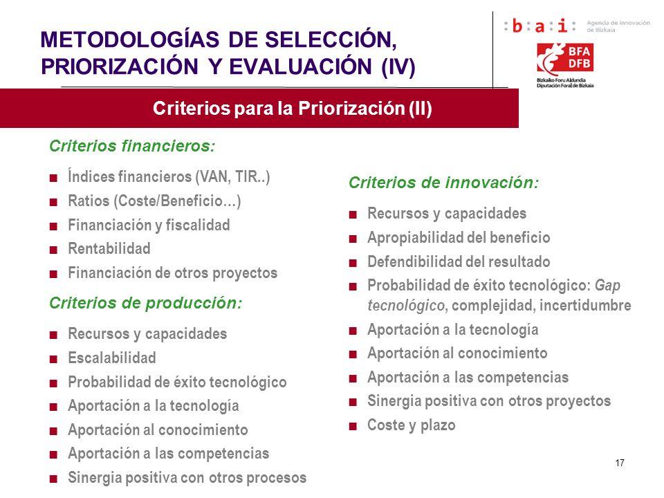 17 METODOLOGÍAS DE SELECCIÓN, PRIORIZACIÓN Y EVALUACIÓN (IV) Criterios para la Priorización (II) Criterios financieros: Índices financieros (VAN, TIR.