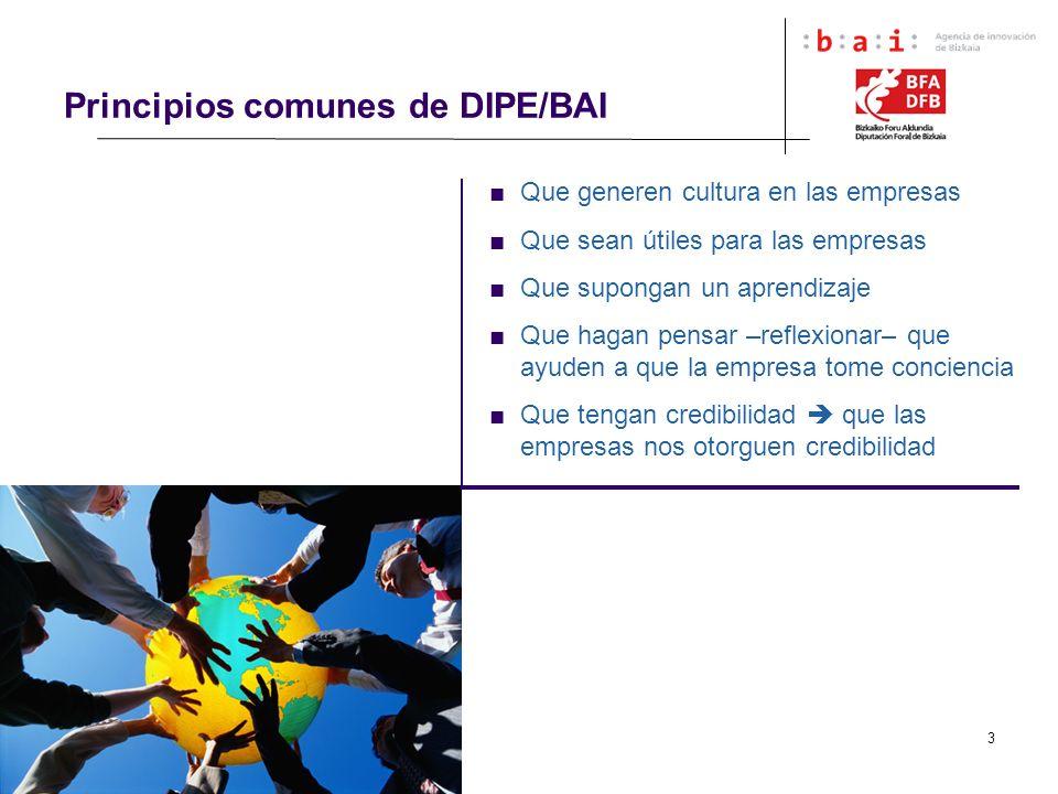 3 Principios comunes de DIPE/BAI Que generen cultura en las empresas Que sean útiles para las empresas Que supongan un aprendizaje Que hagan pensar –r