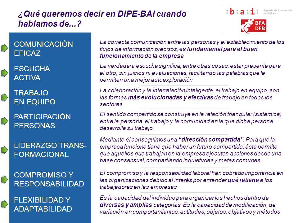 6 ¿Qué queremos decir en DIPE-BAI cuando hablamos de...? La correcta comunicación entre las personas y el establecimiento de los flujos de información