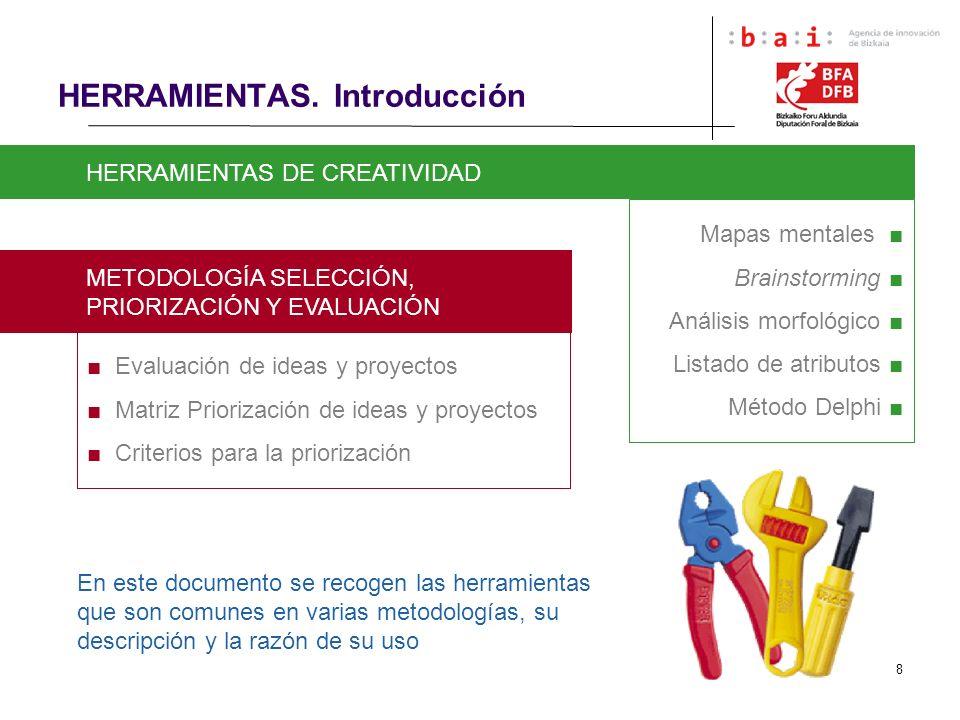 8 HERRAMIENTAS. Introducción HERRAMIENTAS DE CREATIVIDAD Mapas mentales Brainstorming Análisis morfológico Listado de atributos Método Delphi METODOLO