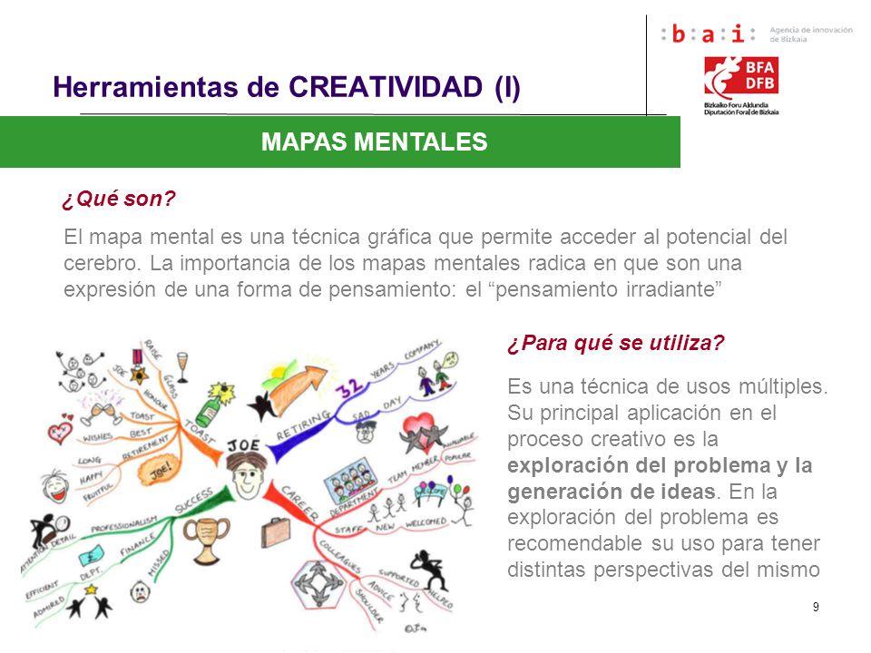 9 Herramientas de CREATIVIDAD (I) MAPAS MENTALES ¿Qué son? El mapa mental es una técnica gráfica que permite acceder al potencial del cerebro. La impo