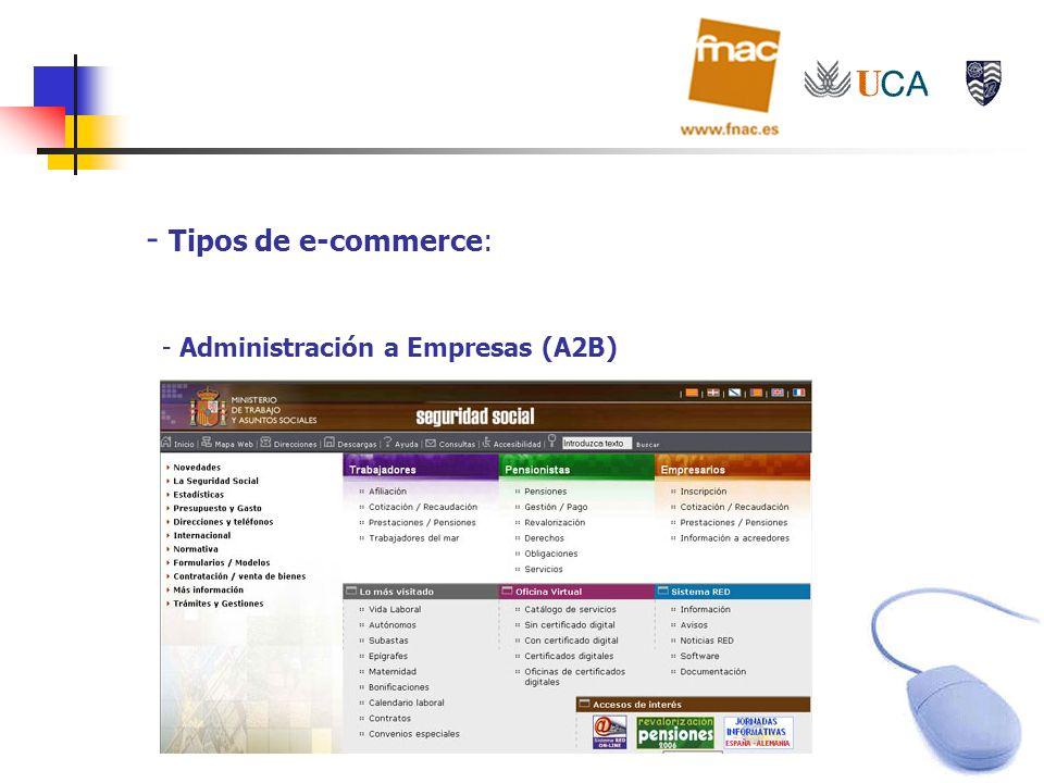 - Tipos de e-commerce: - Administración a Empresas (A2B)
