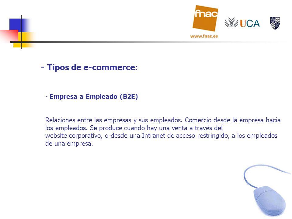 - Tipos de e-commerce: - Empresa a Empleado (B2E) Relaciones entre las empresas y sus empleados. Comercio desde la empresa hacia los empleados. Se pro