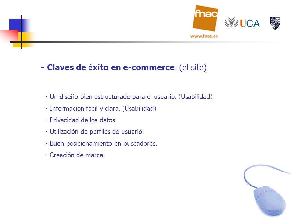 - Claves de é xito en e-commerce: (el site) - Un diseño bien estructurado para el usuario. (Usabilidad) - Información fácil y clara. (Usabilidad) - Pr