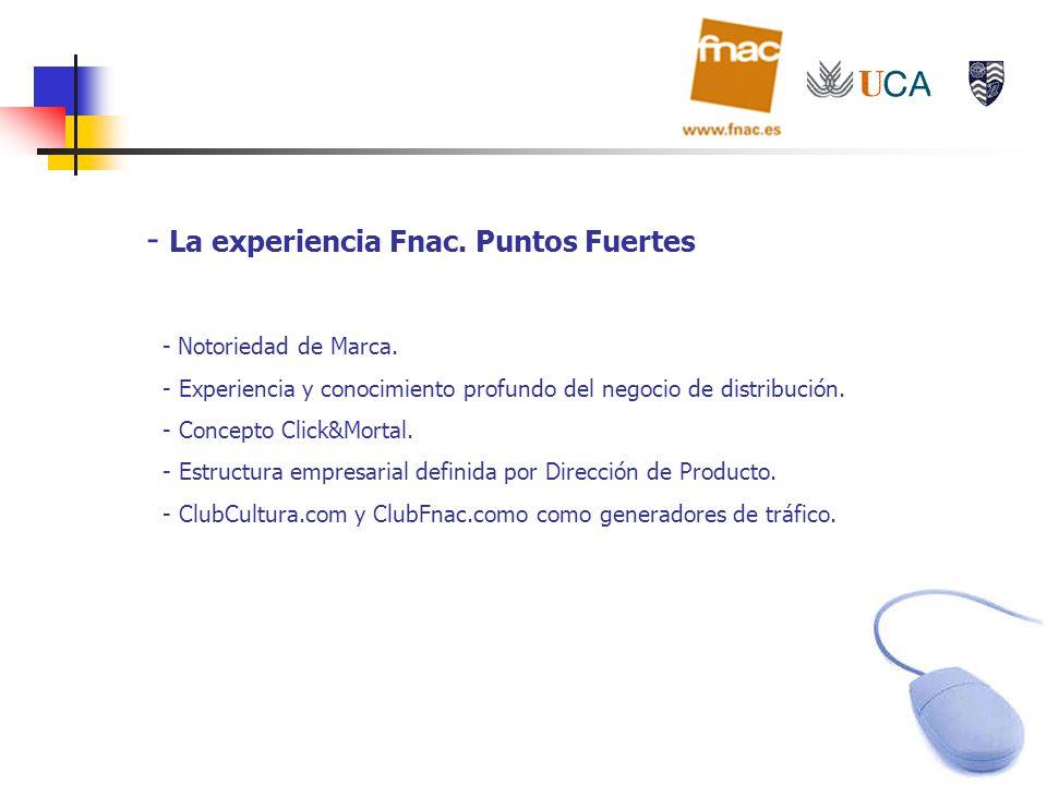- La experiencia Fnac. Puntos Fuertes - Notoriedad de Marca. - Experiencia y conocimiento profundo del negocio de distribución. - Concepto Click&Morta