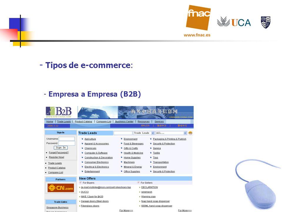 - Tipos de e-commerce: - Empresa a Empresa (B2B)