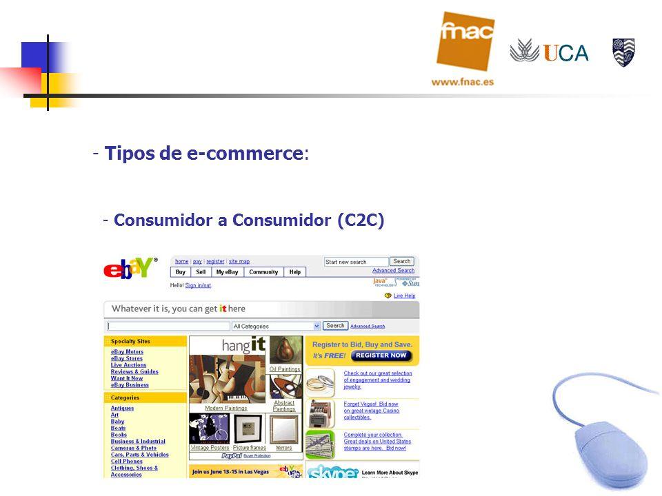 - Tipos de e-commerce: - Consumidor a Consumidor (C2C)