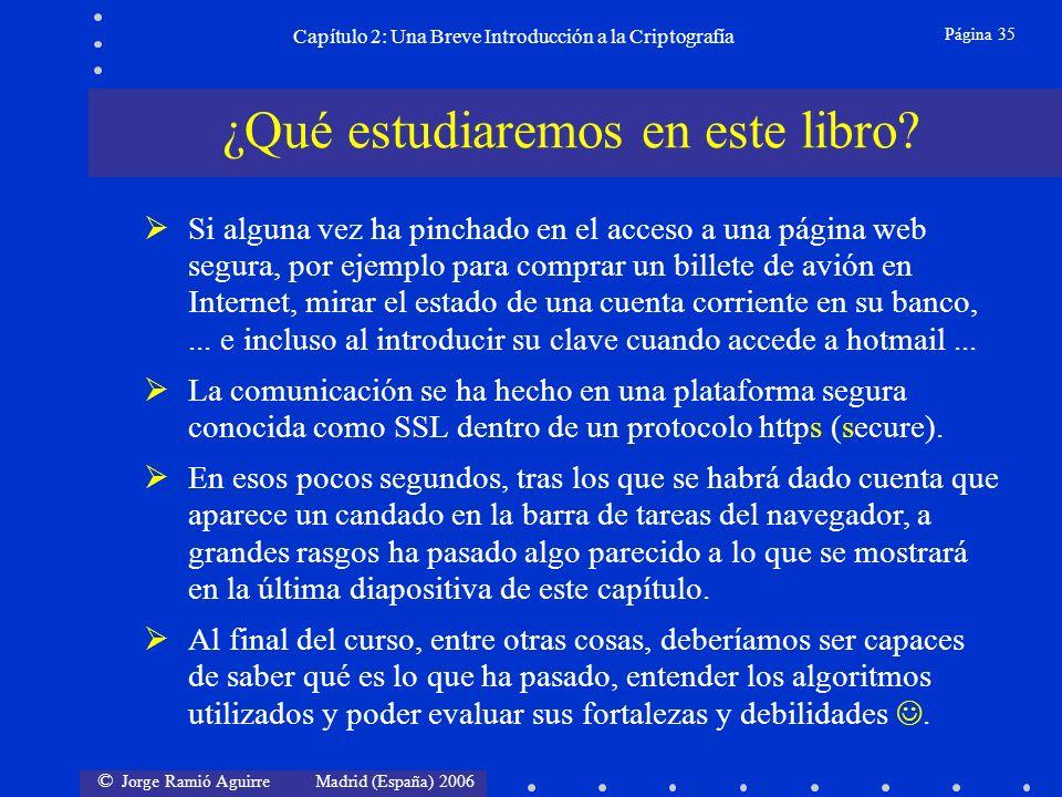 © Jorge Ramió Aguirre Madrid (España) 2006 Página 35 Capítulo 2: Una Breve Introducción a la Criptografía ¿Qué estudiaremos en este libro.