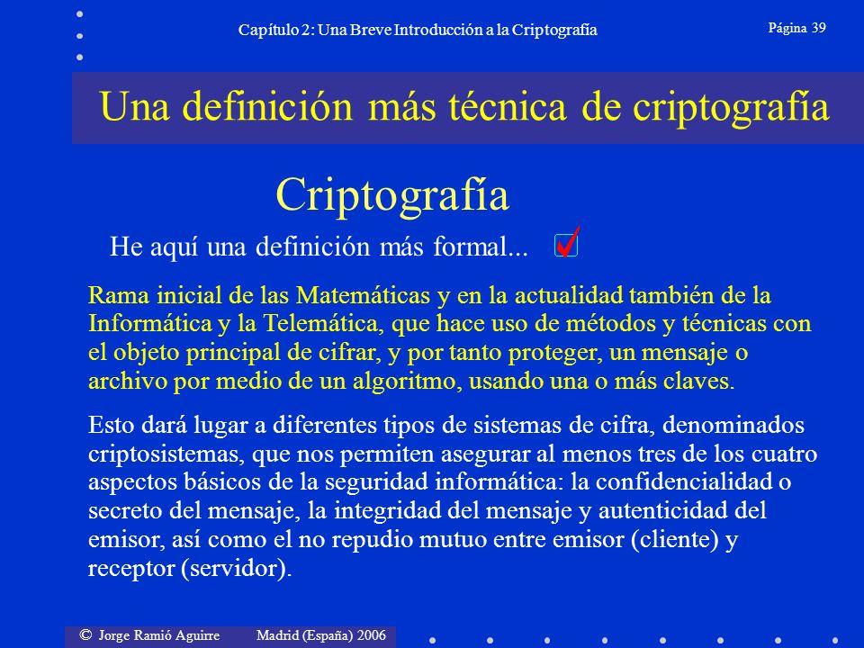© Jorge Ramió Aguirre Madrid (España) 2006 Página 39 Capítulo 2: Una Breve Introducción a la Criptografía Una definición más técnica de criptografía Criptografía He aquí una definición más formal...