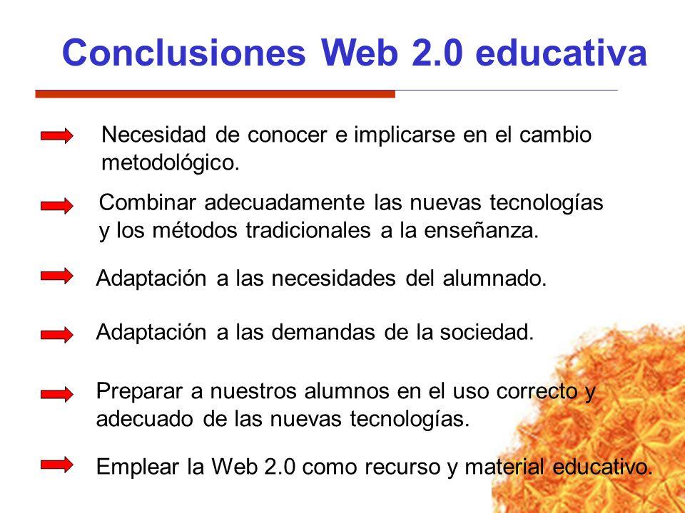 Conclusiones Web 2.0 educativa Necesidad de conocer e implicarse en el cambio metodológico. Adaptación a las necesidades del alumnado. Adaptación a la