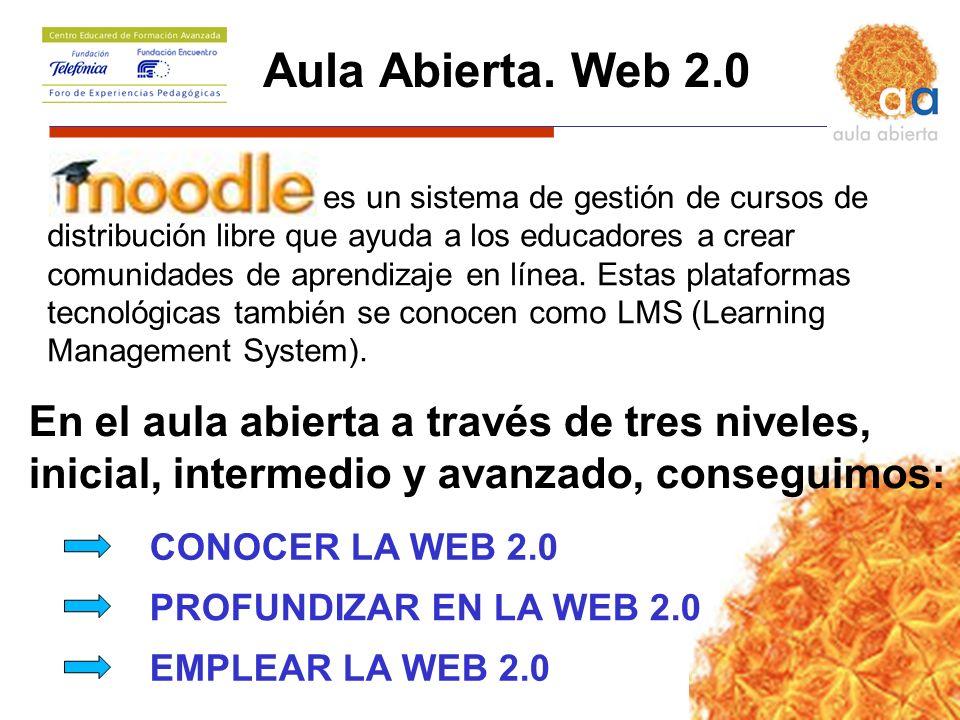 Aula Abierta. Web 2.0 CONOCER LA WEB 2.0 PROFUNDIZAR EN LA WEB 2.0 EMPLEAR LA WEB 2.0 distribución libre que ayuda a los educadores a crear comunidade