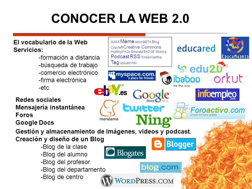 El vocabulario de la Web Servicios: -formación a distancia -búsqueda de trabajo -comercio electrónico -firma electrónica -etc Redes sociales Mensajerí