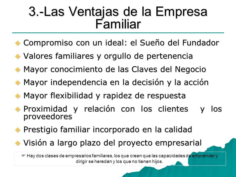 3.-Las Ventajas de la Empresa Familiar Compromiso con un ideal: el Sueño del Fundador Compromiso con un ideal: el Sueño del Fundador Valores familiare
