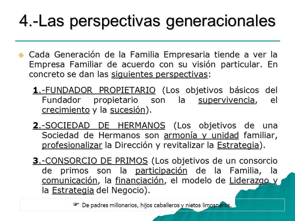 4.-Las perspectivas generacionales Cada Generación de la Familia Empresaria tiende a ver la Empresa Familiar de acuerdo con su visión particular. En c