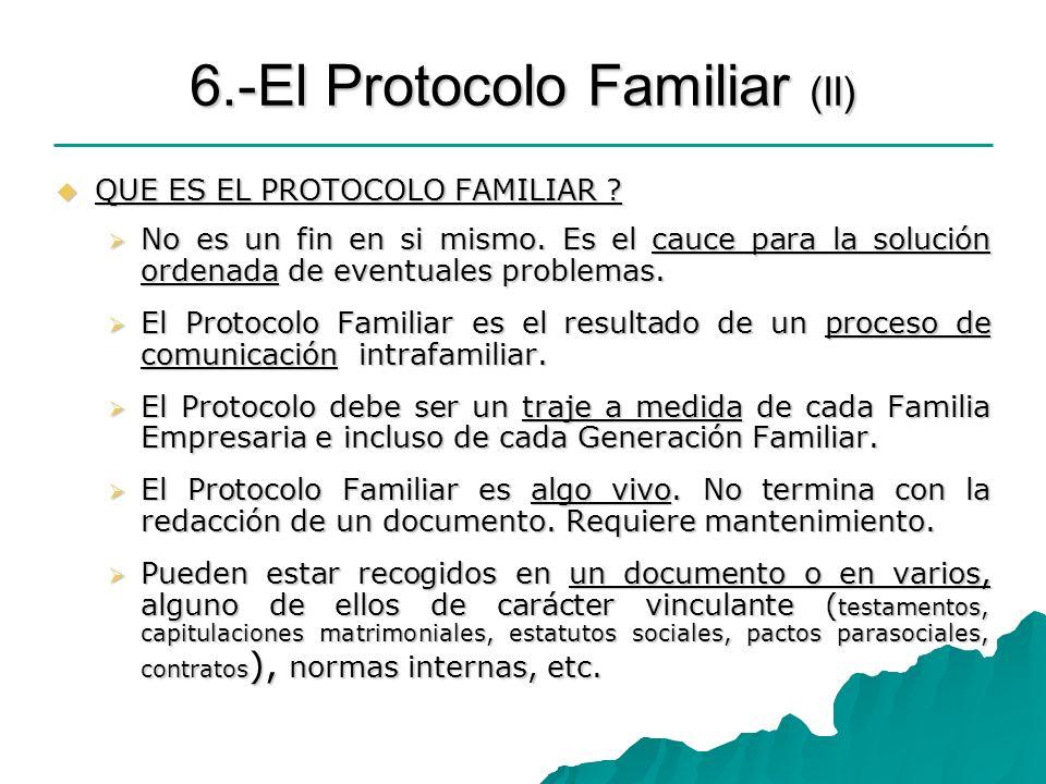 6.-El Protocolo Familiar (II) QUE ES EL PROTOCOLO FAMILIAR ? QUE ES EL PROTOCOLO FAMILIAR ? No es un fin en si mismo. Es el cauce para la solución ord