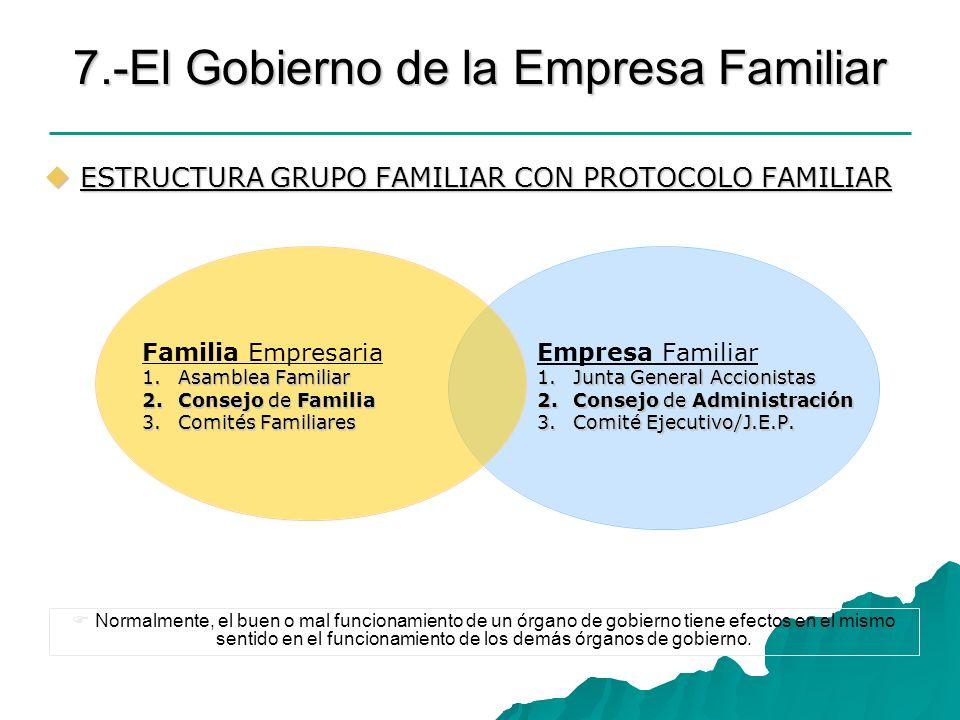 7.-El Gobierno de la Empresa Familiar ESTRUCTURA GRUPO FAMILIAR CON PROTOCOLO FAMILIAR ESTRUCTURA GRUPO FAMILIAR CON PROTOCOLO FAMILIAR Familia Empres