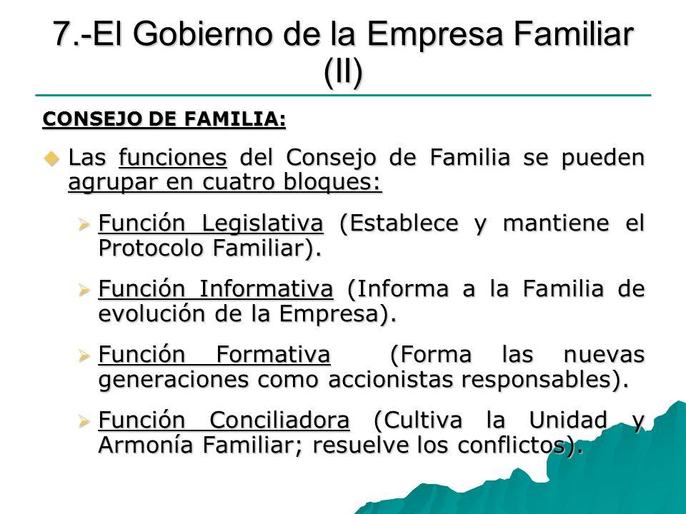 7.-El Gobierno de la Empresa Familiar (II) CONSEJO DE FAMILIA: Las funciones del Consejo de Familia se pueden agrupar en cuatro bloques: Las funciones