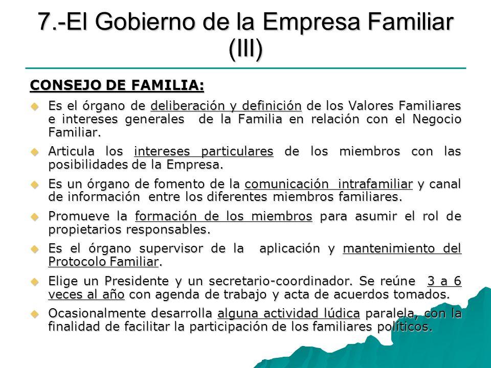 7.-El Gobierno de la Empresa Familiar (III) CONSEJO DE FAMILIA: Es el órgano de deliberación y definición de los Valores Familiares e intereses genera