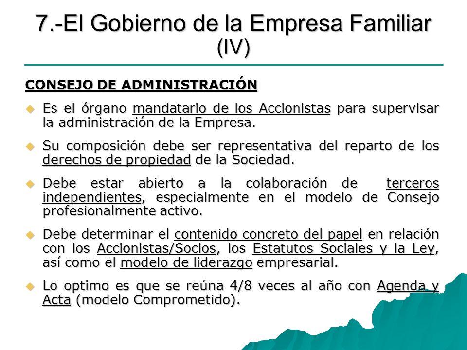 7.-El Gobierno de la Empresa Familiar (IV) CONSEJO DE ADMINISTRACIÓN Es el órgano mandatario de los Accionistas para supervisar la administración de l