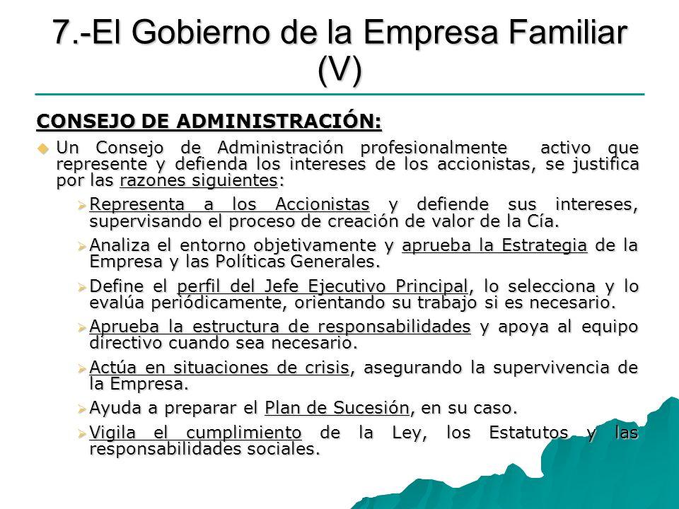 7.-El Gobierno de la Empresa Familiar (V) CONSEJO DE ADMINISTRACIÓN: Un Consejo de Administración profesionalmente activo que represente y defienda lo
