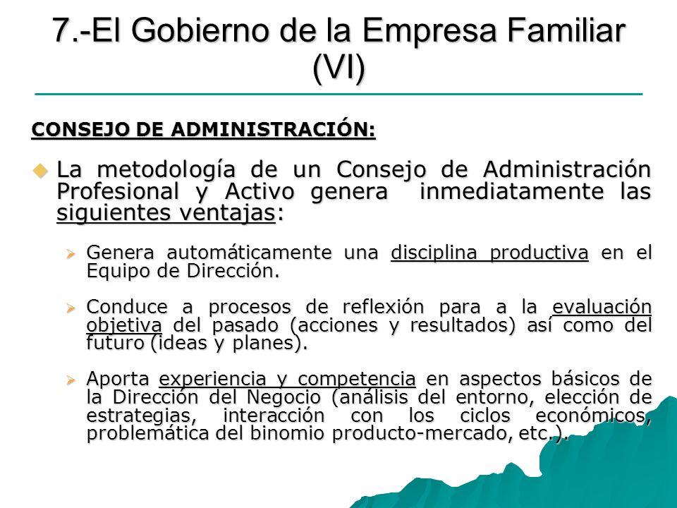 7.-El Gobierno de la Empresa Familiar (VI) CONSEJO DE ADMINISTRACIÓN: La metodología de un Consejo de Administración Profesional y Activo genera inmed
