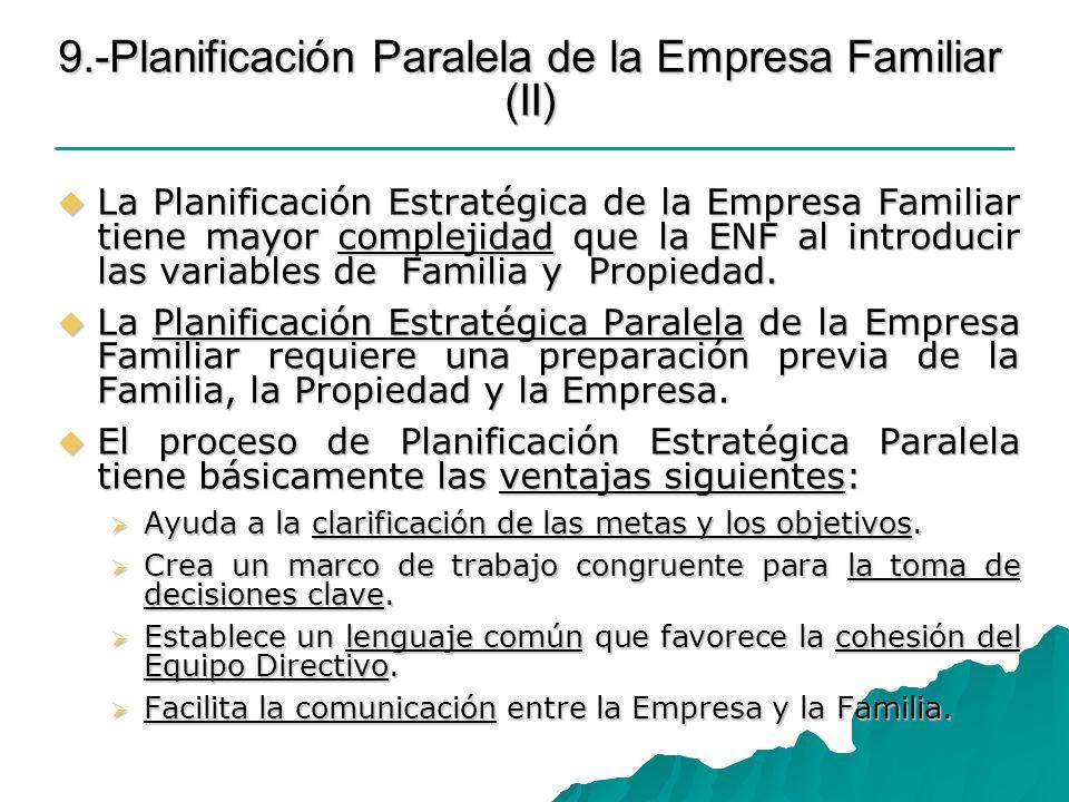 9.-Planificación Paralela de la Empresa Familiar (II) La Planificación Estratégica de la Empresa Familiar tiene mayor complejidad que la ENF al introd