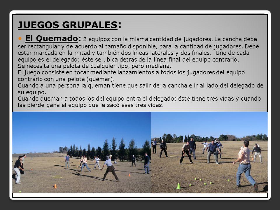 JUEGOS GRUPALES : El Quemado: 2 equipos con la misma cantidad de jugadores.