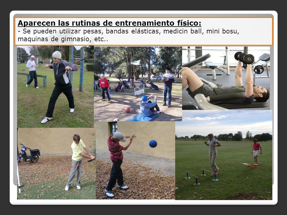 Aparecen las rutinas de entrenamiento físico: - Se pueden utilizar pesas, bandas elásticas, medicin ball, mini bosu, maquinas de gimnasio, etc..
