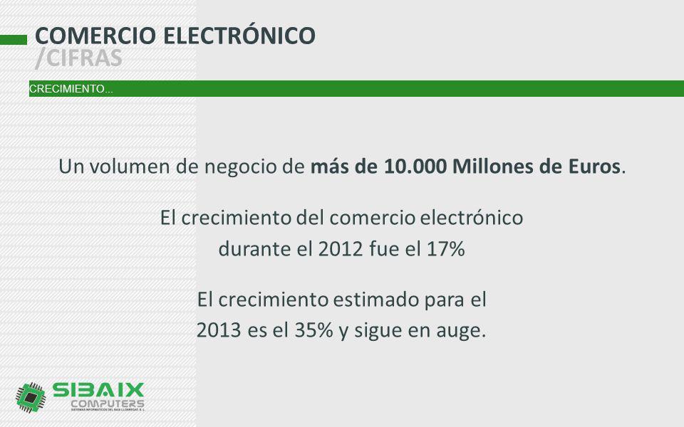 COMERCIO ELECTRÓNICO /CIFRAS CRECIMIENTO... El crecimiento del comercio electrónico durante el 2012 fue el 17% El crecimiento estimado para el 2013 es