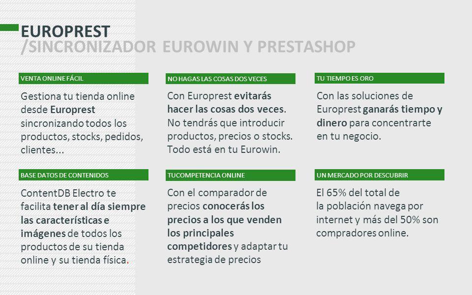 EUROPREST /SINCRONIZADOR EUROWIN Y PRESTASHOP Con Europrest evitarás hacer las cosas dos veces. No tendrás que introducir productos, precios o stocks.