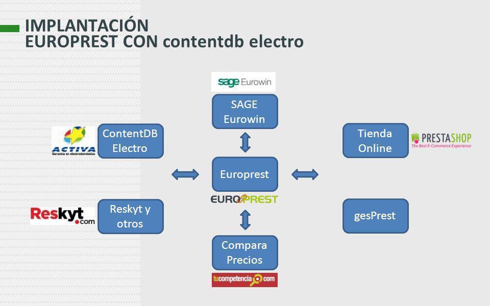 IMPLANTACIÓN EUROPREST CON contentdb electro Tienda Online Europrest ContentDB Electro Compara Precios Reskyt y otros gesPrest SAGE Eurowin