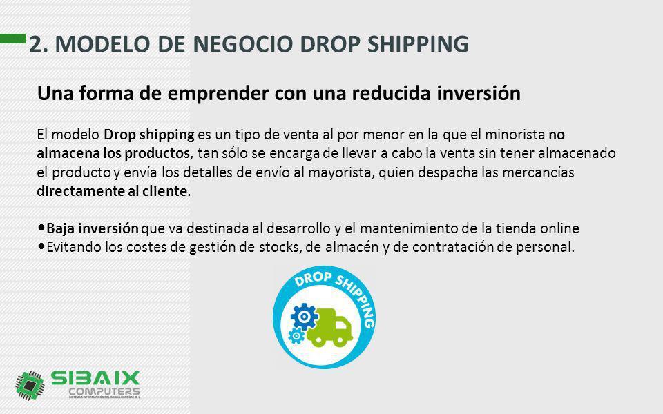 2. MODELO DE NEGOCIO DROP SHIPPING El modelo Drop shipping es un tipo de venta al por menor en la que el minorista no almacena los productos, tan sólo
