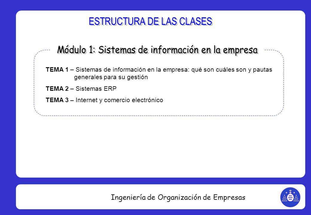 Ingeniería de Organización de Empresas TEMA 1 – Sistemas de información en la empresa: qué son cuáles son y pautas generales para su gestión TEMA 2 –