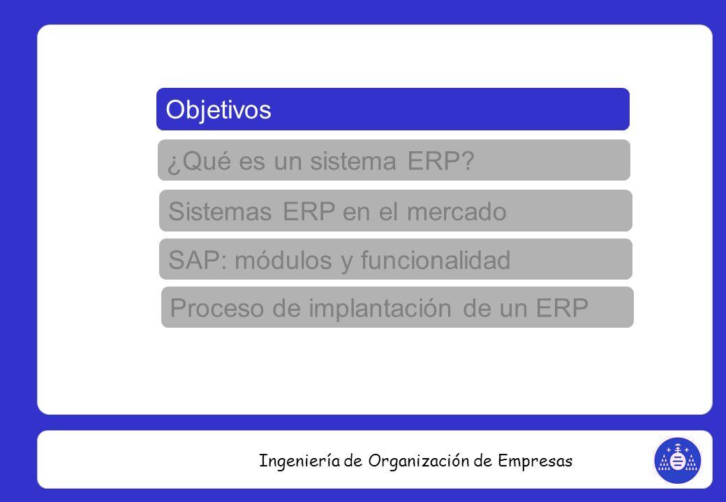 Ingeniería de Organización de Empresas Objetivos ¿Qué es un sistema ERP? Sistemas ERP en el mercado Proceso de implantación de un ERP SAP: módulos y f