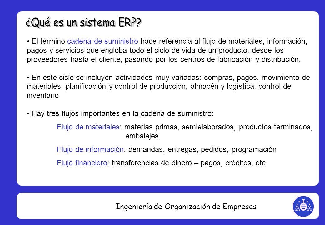 Ingeniería de Organización de Empresas El término cadena de suministro hace referencia al flujo de materiales, información, pagos y servicios que engl