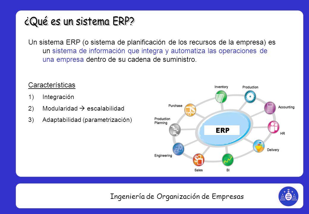 Ingeniería de Organización de Empresas Un sistema ERP (o sistema de planificación de los recursos de la empresa) es un sistema de información que inte