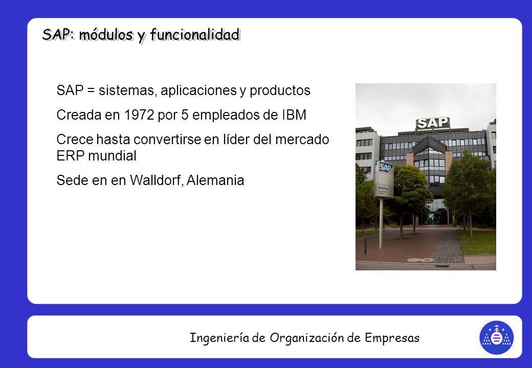 Ingeniería de Organización de Empresas SAP = sistemas, aplicaciones y productos Creada en 1972 por 5 empleados de IBM Crece hasta convertirse en líder
