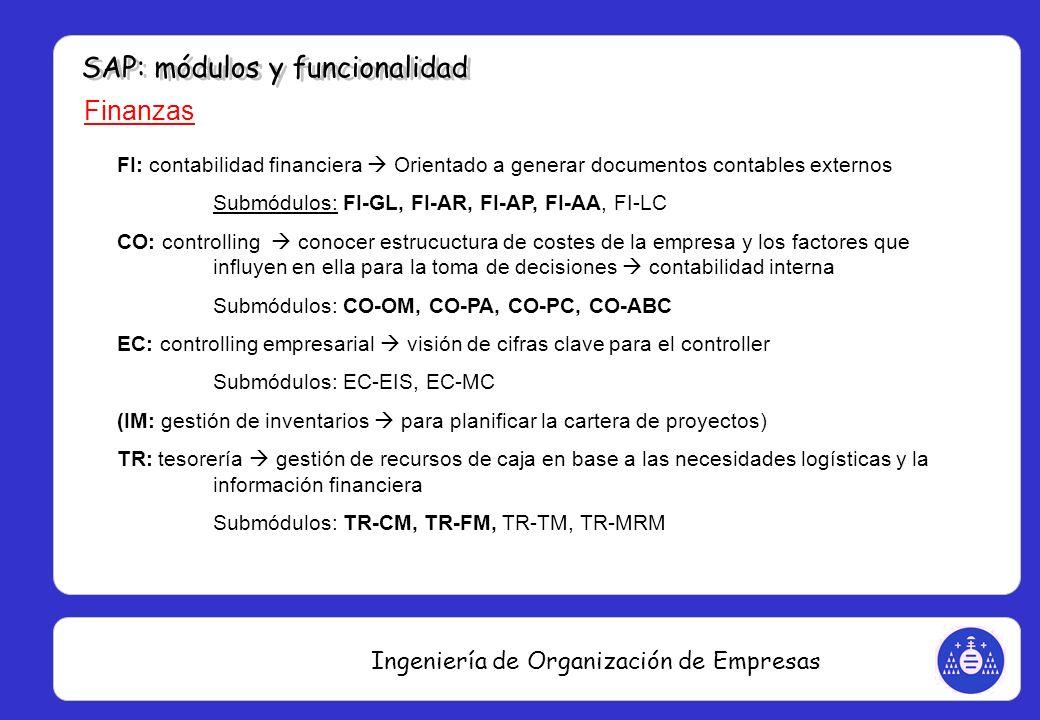 Ingeniería de Organización de Empresas Finanzas FI: contabilidad financiera Orientado a generar documentos contables externos Submódulos: FI-GL, FI-AR