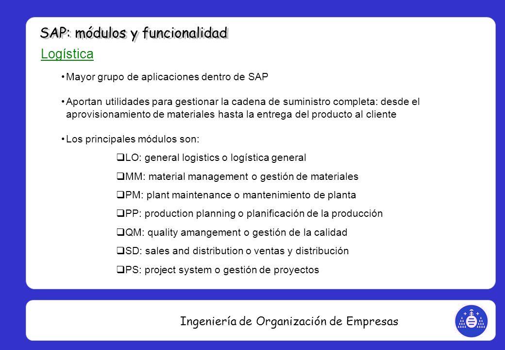 Ingeniería de Organización de Empresas Logística Mayor grupo de aplicaciones dentro de SAP Aportan utilidades para gestionar la cadena de suministro c