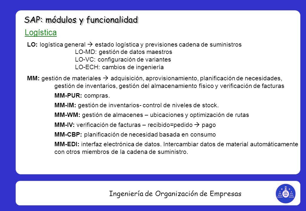 Ingeniería de Organización de Empresas Logística LO: logística general estado logística y previsiones cadena de suministros LO-MD: gestión de datos ma