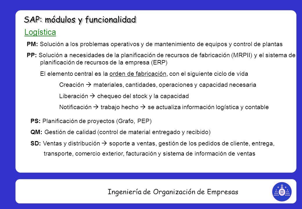 Ingeniería de Organización de Empresas Logística PM: Solución a los problemas operativos y de mantenimiento de equipos y control de plantas PP: Soluci