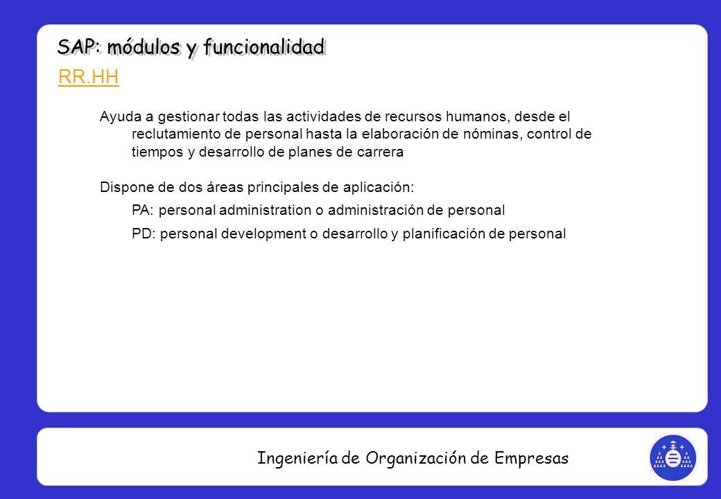 Ingeniería de Organización de Empresas RR.HH Ayuda a gestionar todas las actividades de recursos humanos, desde el reclutamiento de personal hasta la