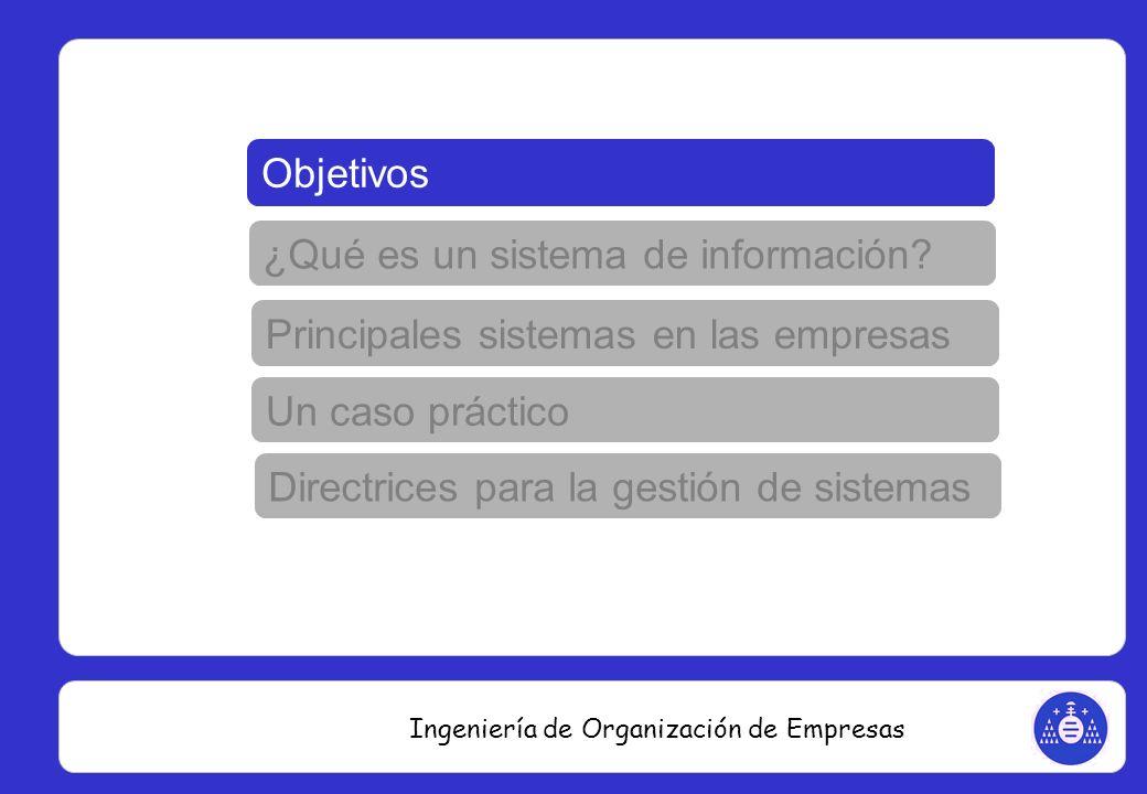 Ingeniería de Organización de Empresas Resumiendo: Sistemas PDM Sistemas ERP Sistemas CRM Datos técnicos de producto - ingeniería Información operaciones – producción / finanzas Información del mercado - comercial Importancia de la relación entre sistemas para garantizar unicidad y actualización de los datos INTERFACES